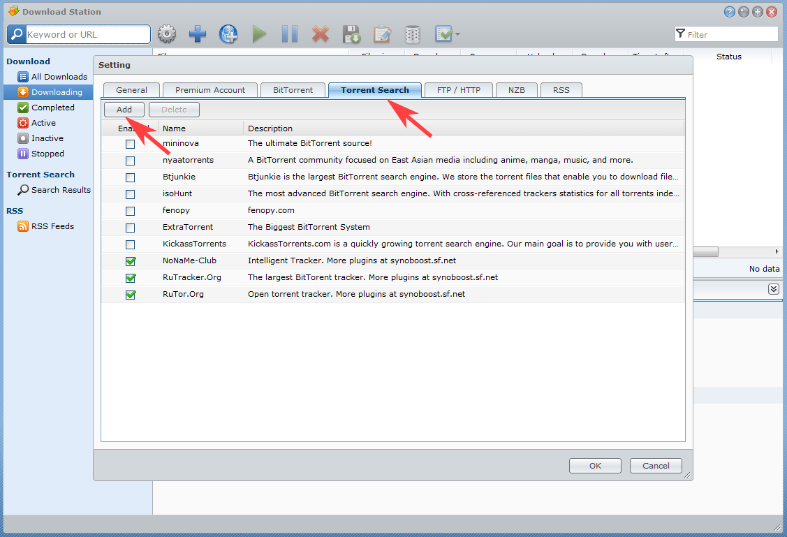 Install DLM. Choose Torrent Search tab and press Add